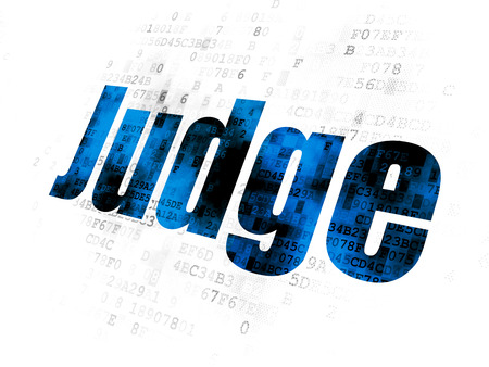 cyber defence: Law concept: Pixelated blue text Judge on Digital background