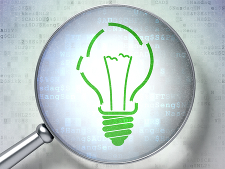 broken strategy: Finance concept: magnifying optical glass with Light Bulb icon on digital background