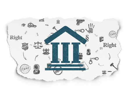 court process: Law concept: Painted blue Courthouse icon on Torn Paper background with Scheme Of Hand Drawn Law Icons