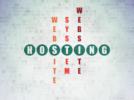web hosting: Web design concept: Painted green word Hosting in solving Crossword Puzzle on Digital Paper background