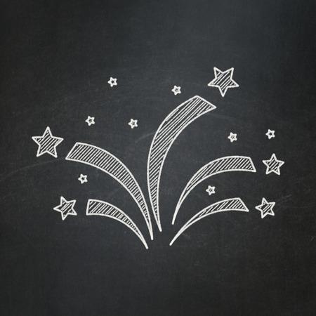 blackboard icon: Holiday concept: Fireworks icon on Black chalkboard background Stock Photo