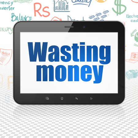 wasting: Banking concept: Tablet Computer with  blue text Wasting Money on display,  Hand Drawn Finance Icons background