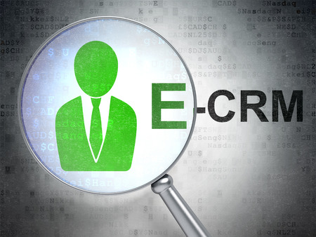 ecrm: Finance concept: magnifying optical glass with Business Man icon and E-CRM word on digital background