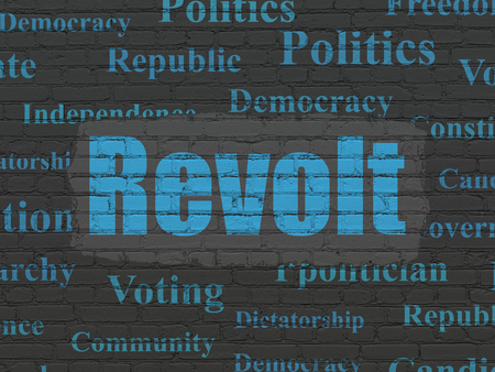 revolt: Politics concept: Painted blue text Revolt on Black Brick wall background with  Tag Cloud
