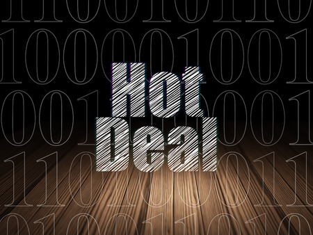 deal in: Business concept: Glowing text Hot Deal in grunge dark room with Wooden Floor, black background with  Binary Code