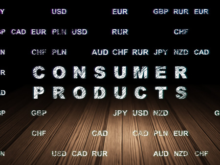 consumer products: Business concept: Glowing text Consumer Products in grunge dark room with Wooden Floor, black background with Currency