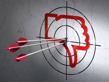 media center: Success social media concept: arrows hitting the center of Red Thumb Down target on wall background