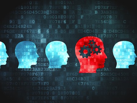 digital background: Learning concept: pixelated Head With Gears icon on digital background