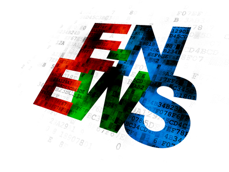 breaking the code: News concept: Pixelated multicolor text E-news on Digital background