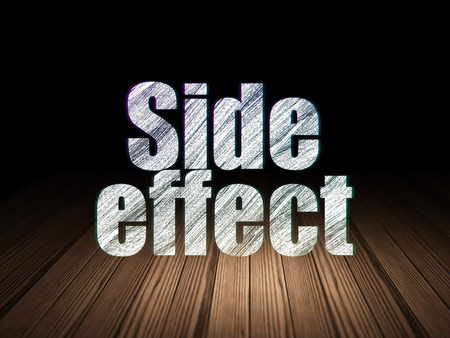 side effect: Healthcare concept: Glowing text Side Effect in grunge dark room with Wooden Floor, black background