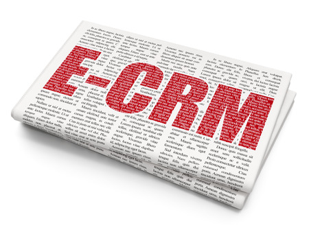 ecrm: Finance concept: Pixelated red text E-CRM on Newspaper background