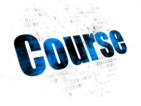 curso de capacitacion: El estudio de concepto: Pixelated Curso texto azul en el fondo digital Foto de archivo