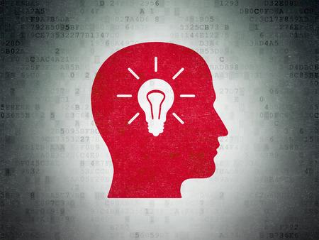 semaforo en rojo: Concepto de la educaci�n: Pintado Cabeza roja con icono de la bombilla en el fondo papel digital