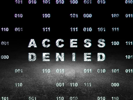 room access: Privacy concept: Glowing text Access Denied in grunge dark room with Dirty Floor, black background with Binary Code Stock Photo