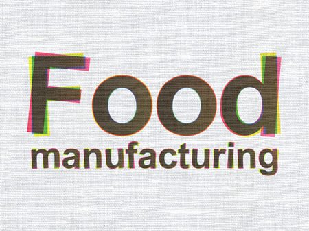 food industry: Industry concept: CMYK Food Manufacturing on linen fabric texture background