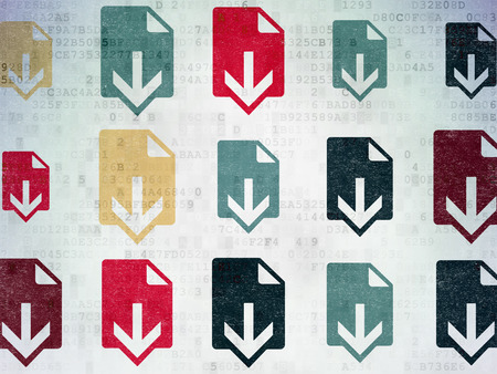 ftp servers: Web design concept: Painted multicolor Download icons on Digital Paper background Stock Photo