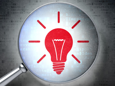 digital background: Business concept: magnifying optical glass with Light Bulb icon on digital background