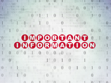 important information: Data concept: Painted red text Important Information on Digital Paper background with Binary Code