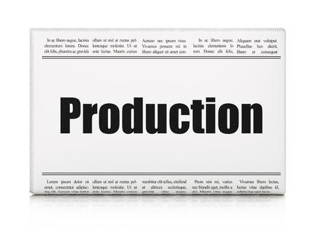 newspaper headline: Business concept: newspaper headline Production on White background, 3d render Stock Photo
