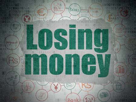 losing money: Money concept: Painted green text Losing Money on Digital Paper background with  Scheme Of Hand Drawn Finance Icons