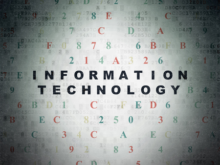 information processing system: Information concept: Painted black text Information Technology on Digital Paper background with Hexadecimal Code Stock Photo