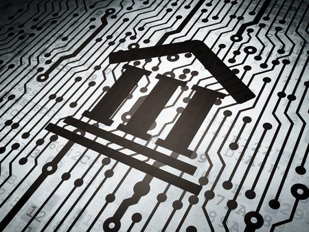 DERECHO: Concepto de la ley: Tarjeta de circuitos con el icono del Palacio de Justicia, 3d