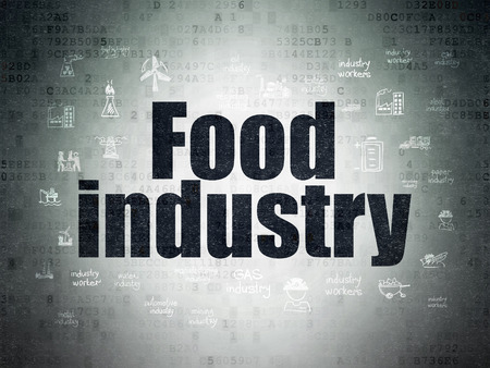 food industry: Industry concept: Painted black text Food Industry on Digital Paper background with  Hand Drawn Industry Icons