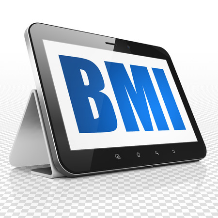 BMI: Medicine concept: Tablet Computer with blue text BMI on display