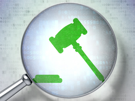 information technology law: Law concept: magnifying optical glass with Gavel icon on digital background Stock Photo
