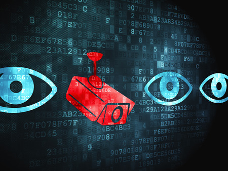 digital background: Protection concept: pixelated Camera And Eye icon on digital background