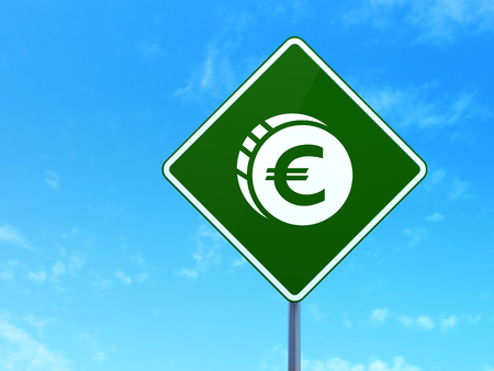 way bill: Banking concept: Euro Coin on green road (highway) sign, clear blue sky background, 3d render