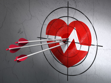 bullseye: Success Healthcare concept: arrows hitting the center of Red Heart target on wall background