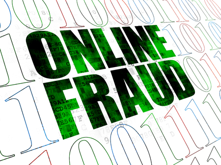 online privacy: Privacy concept: Pixelated green text Online Fraud on Digital wall background with Binary Code