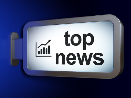 news icon: News concept: Top News and Growth Graph on advertising billboard background, 3d render