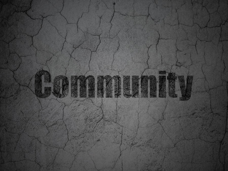 microblog: Social network concept: Black Community on grunge textured concrete wall background Stock Photo