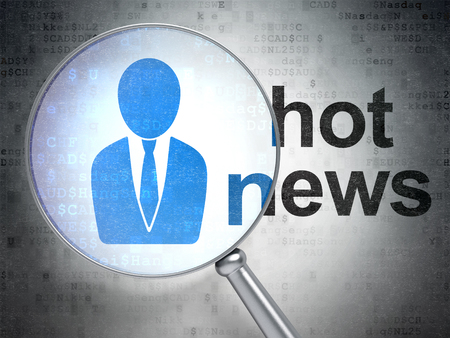 hot news: News concept: magnifying optical glass with Business Man icon and Hot News word on digital background Stock Photo