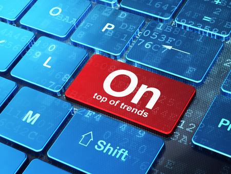 teclado: Concepto de negocio: Teclado de ordenador con la palabra en la cima de las tendencias en introducir fondo botón, 3d Foto de archivo