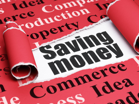 Finance concept: black text Saving Money under the curled piece of Red torn paper with  Tag Cloud