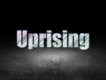 uprising: Politics concept: Glowing text Uprising in grunge dark room with Dirty Floor, black background