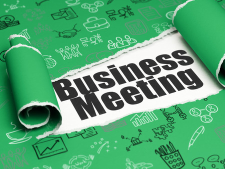 Finance concept: black text Business Meeting under the curled piece of Green torn paper with  Hand Drawn Business Icons