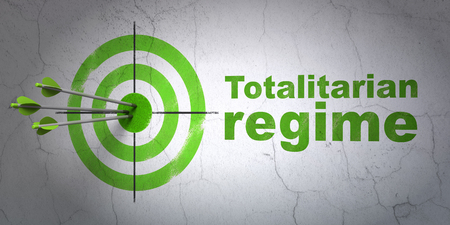 regime: Success political concept: arrows hitting the center of target, Green Totalitarian Regime on wall background