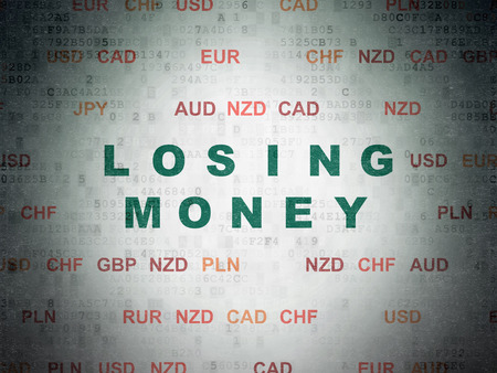 losing money: Currency concept: Painted green text Losing Money on Digital Paper background with Currency