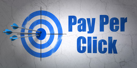 pay wall: Success marketing concept: arrows hitting the center of target, Blue Pay Per Click on wall background Stock Photo