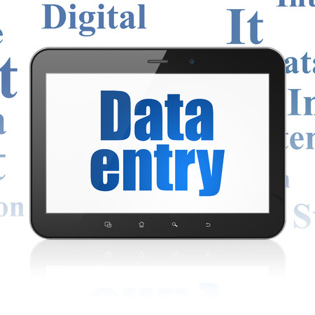 data entry: Information concept: Tablet Computer with  blue text Data Entry on display,  Tag Cloud background