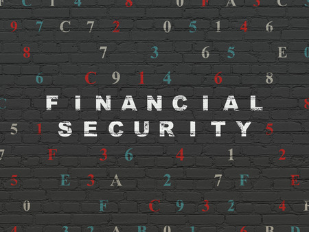 hexadecimal: Security concept: Painted white text Financial Security on Black Brick wall background with Hexadecimal Code Stock Photo