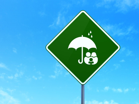 child protection: Protection concept: Family And Umbrella on green road (highway) sign, clear blue sky background, 3d render
