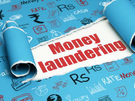 paper money: Banking concept: red text Money Laundering under the curled piece of Blue torn paper with  Hand Drawn Finance Icons Stock Photo