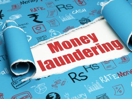 banco dinero: Concepto de banca: rojo Lavado de Dinero de texto debajo de la pieza rizado de papel rasgado azul con el dibujado a mano iconos de las finanzas