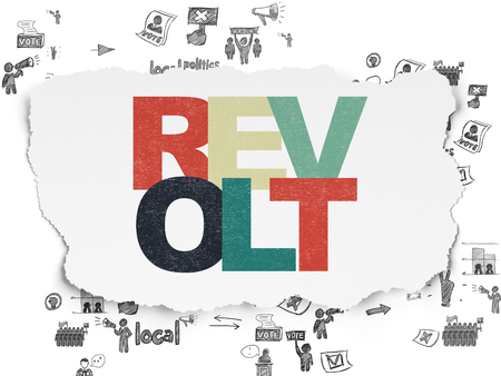 revolt: Political concept: Painted multicolor text Revolt on Torn Paper background with Scheme Of Hand Drawn Politics Icons