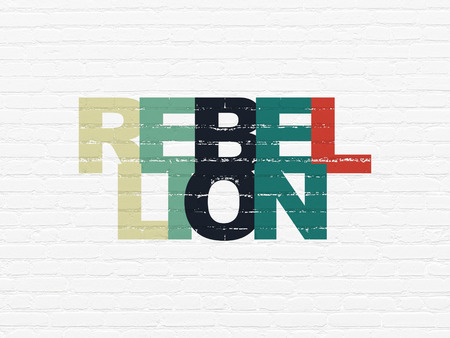 rebellion: Political concept: Painted multicolor text Rebellion on White Brick wall background